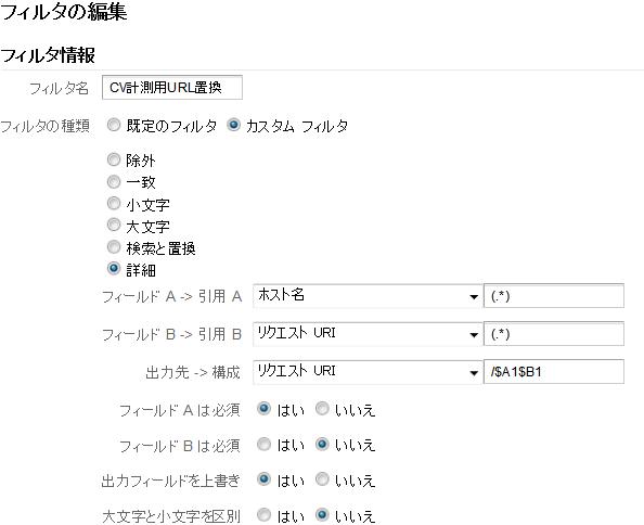 Google Analyticsフィルタ設定
