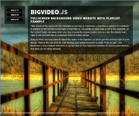 BigVideo.js - The jQuery Plugin for Big Background Video
